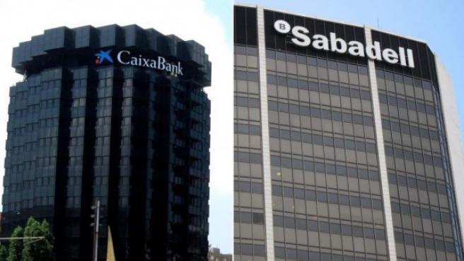 Sedes de los bancos Caixabank y Sabadell