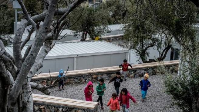 Niños refugiados en Lesbos.