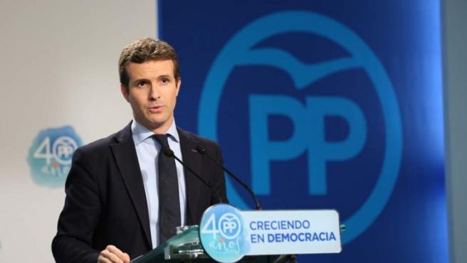 Pablo Casado, en una rueda de prensa.