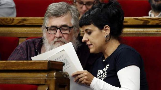 Anna Gabriel, en el Parlament tras la comparecencia de Puigdemont.