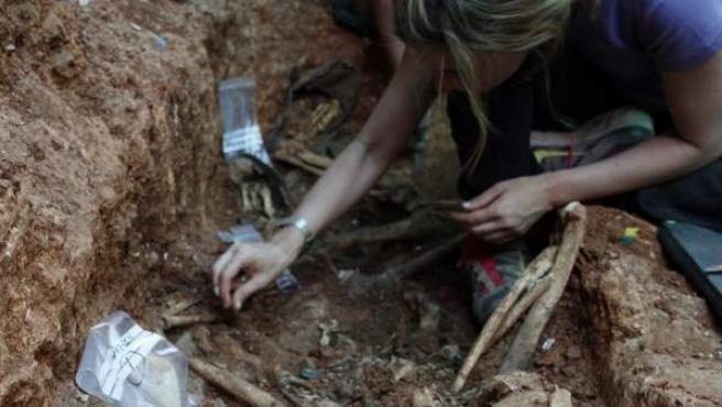 Exhumación de una fosa común con represaliados del franquismo.