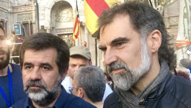 Los presidentes de ANC y Òmnium Cultural, Jordi Sànchez y Jordi Cuixart.