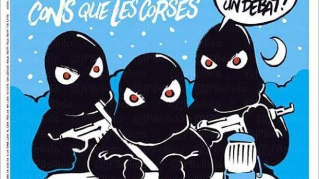 """Portada del Charlie Hebdo sobre el independentismo catalán. """"Independentistas. Los catalanes, más tontos que los corsos"""", dice."""