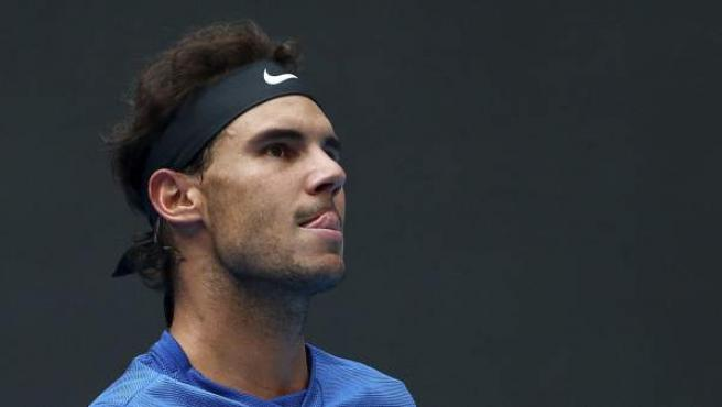 El tenista español Rafa Nadal durante el partido de cuartos de final del torneo ATP de Pekín (China).
