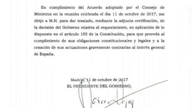 Texto del requerimiento del Gobierno al presidente de la Generalitat, Carles Puigdemont.