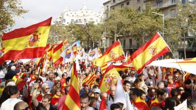 La manifestación del Día de la Hispanidad en Barcelona.