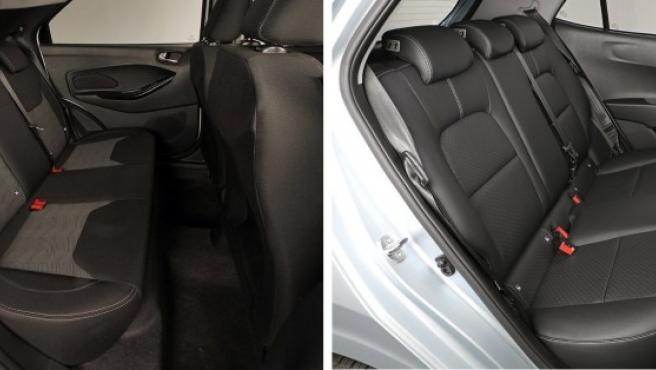 El KA+ (izquierda) es el coche ideal para transportar cuatro o cinco adultos de talla grande. La entrada a las plazas traseras es perfecta para que pueda acceder una persona con poca movilidad o para acoplar una silla infantil. Precios y fichas técnicas de todos los modelos del KIA Picanto y de todos los Ford KA+.