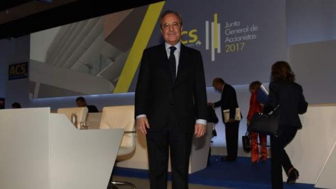 El presidente de ACS, Florentino Pérez, en la junta de accionistas.