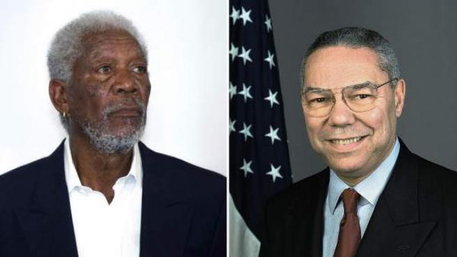 El actor estadounidense Morgan Freeman (izq.), y el exsecretario de Estado de EE UU Colin Powell.