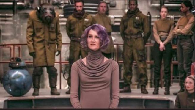 Laura Dern caracterizada como Amilyn Holdo en 'Star Wars: The Last Jedi'.