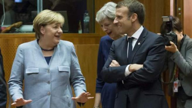 Merkel y Macron durante una cumbre del Consejo Europeo en Bruselas.