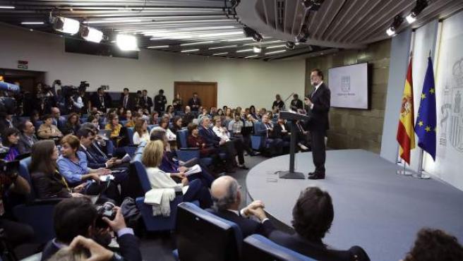 El presidente del gobierno Mariano Rajoy, durante su comparecencia para explicar la aplicación del Artículo 155 de la Costitución, tras el Consejo de Ministros extraordinario.