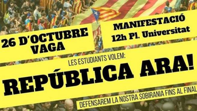 Cartel del Sindicato de Estudiantes de Cataluña convocando una huelga para el 26 de octubre.