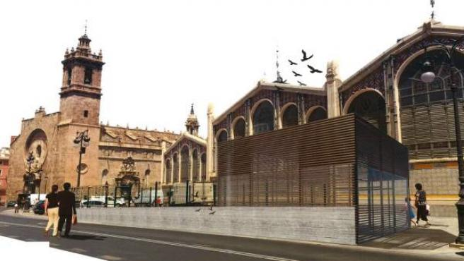 Figuración virtual del proyecto de finalización del aparcamiento de la plaza Ciudad de Brujas, junto al Mercado Central de València y la iglesia de los Santos Juanes.