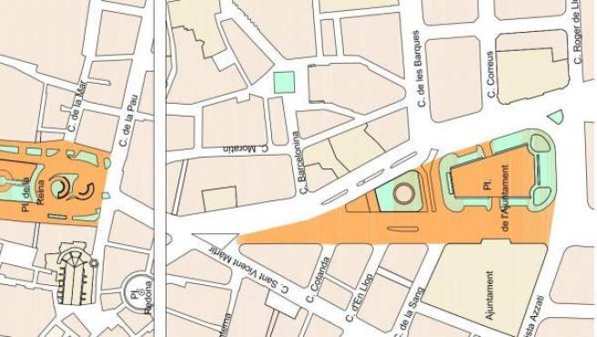 Plano de la superficie que será peatonal en la plaza del Ayuntamiento de València a partir de abril de 2018.