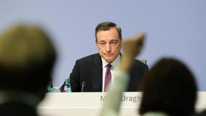 Draghi, en rueda de prensa.