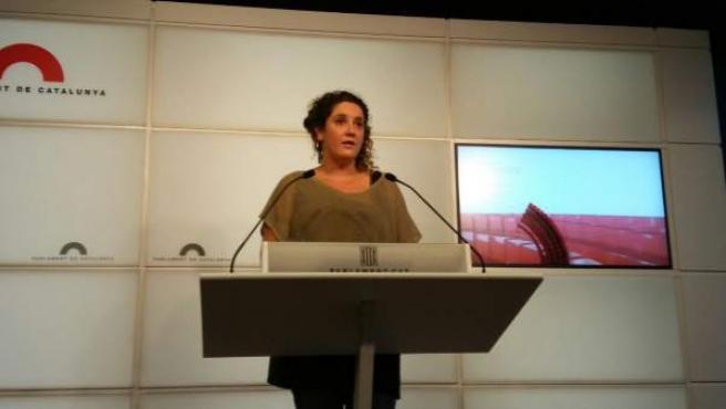 Núria Gibert, de la CUP, la tarde de este jueves.