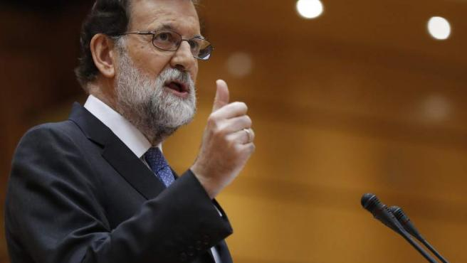 El presidente del Gobierno, Mariano Rajoy, durante su intervención en el pleno extraordinario del Senado.