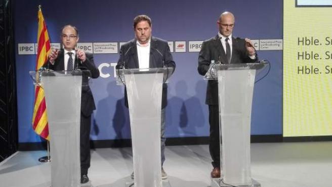 Los ex consellers Turull, Junqueras y Romeva.
