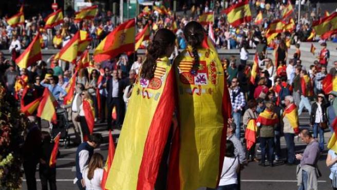 Manifestación convocada por la Fundación DENAES para la defensa de la Nación española, en la plaza de Colón de Madrid, para reivindicar la unidad de España y la Constitución.