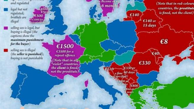 Mapa europeo de la prostitución.