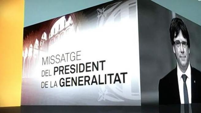 Así presentó TV3 el mensaje del sábado de Carles Puigdemont.