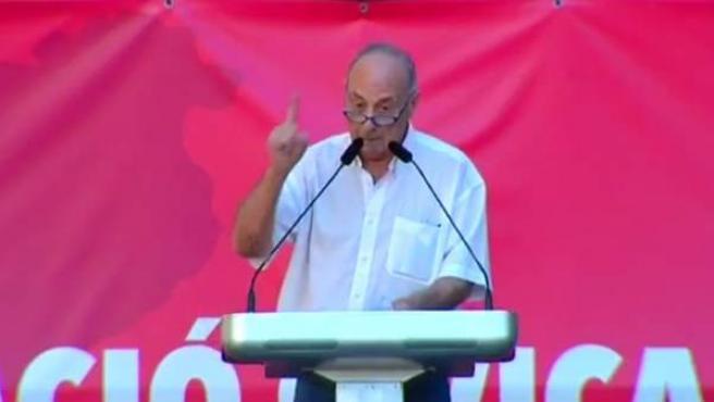 El exlíder del PCE Paco Frutos, durante su intervención al término de la manifestación de Sociedad Civil Catalana en Barcelona contra la independencia de Cataluña.