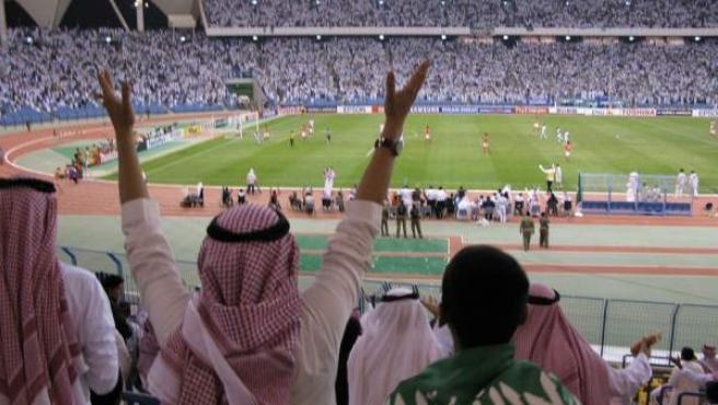 El estadio de Riad, en Arabia Saudí, durante un partido de fútbol