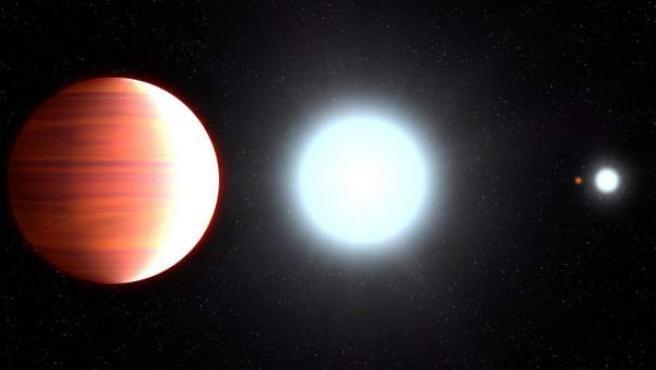 Recreación de Kepler-13Ab, que orbita muy cerca de la estrella Kepler-13A.