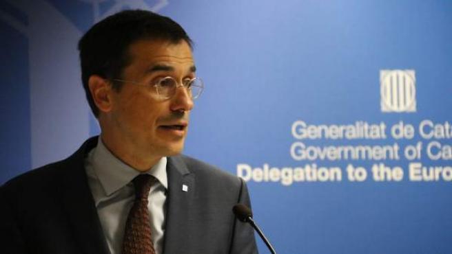 El representante del Govern ante la UE, Amadeu Altafaj, durante un acto en Bruselas.