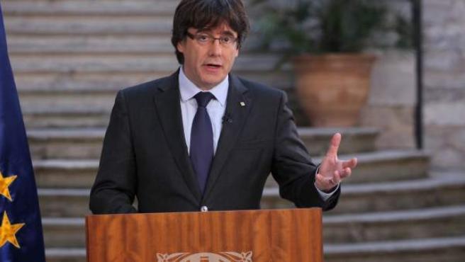 Declaración institucional de Carles Puigdemont desde Girona.