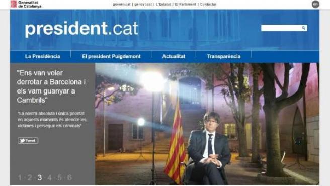 Portada de la web president.exili que ha puesto en marcha el Govern cesado después de que president.cat y govern.cat quedaran clausuradas.