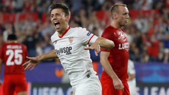 Clement Lenglet celebra su gol en el Sevilla - Spartak de Moscú.