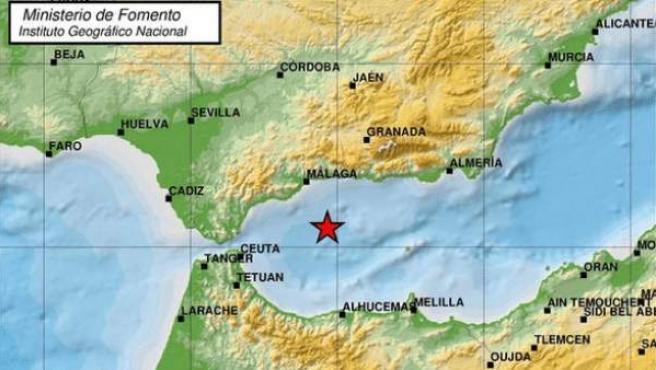 Mapa del epicentro del terremoto localizado en el Mar de Alborán.