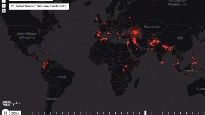 Mapa animado del terrorismo desde los años 80 a la actualidad.
