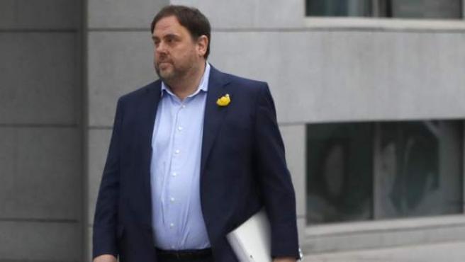 El vicepresidente cesado de la Generalitat de Cataluña, Oriol Junqueras, a su llegada a la sede de la Audiencia Nacional.