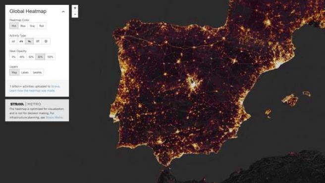 El mapa muestra zonas en España, pero también puedes buscar en otras ciudades del mundo.
