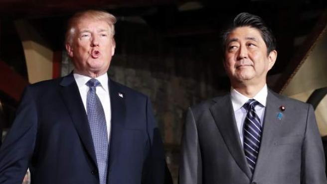 Los líderes de Japón y Estados Unidos, Shinzo Abe y Donald Trump.