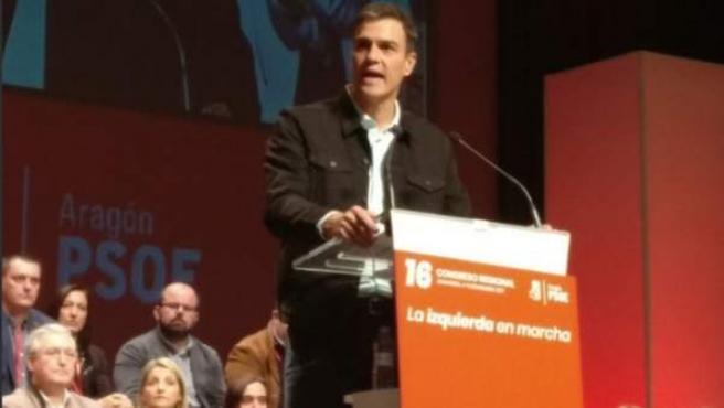 Pedro Sánchez, secretario general del PSOE, en un mitin en Zaragoza.