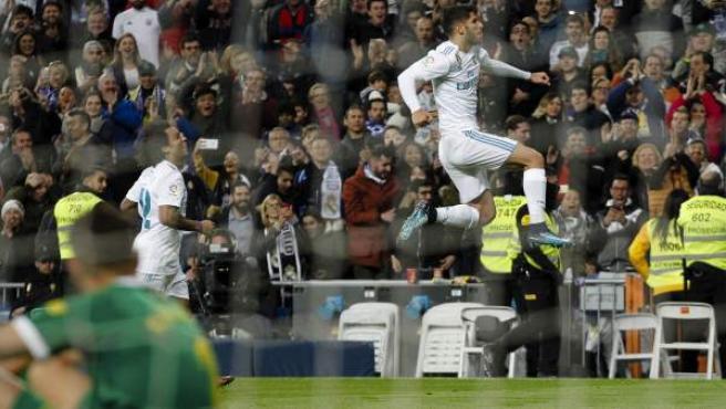 Marco Asensio celebra su gol ante la UD Las Palmas.