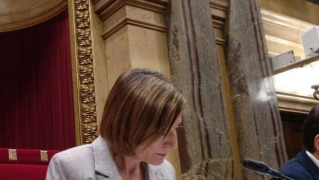 La presidenta del Parlament, Carme Forcadell, en el pleno del Parlament.