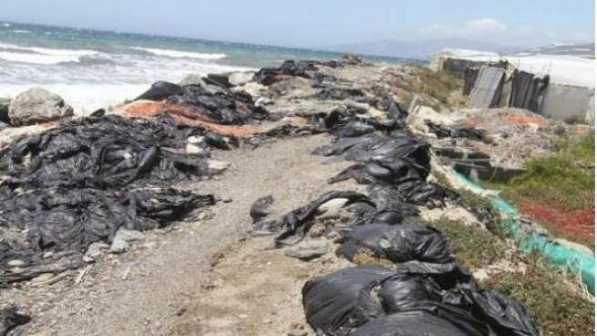 Invernaderos rodeados de basura en Albuñol