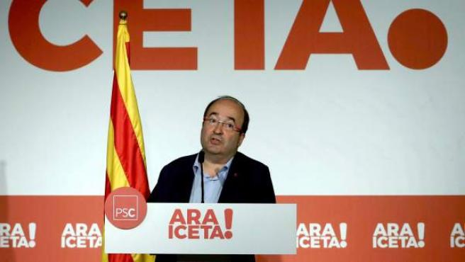 El primer secretario del PSC, Miquel Iceta, durante su intervención ante el Consell Nacional de los socialistas catalanes.