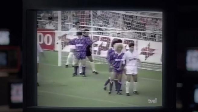 Imágenes de Valderrama y Míchel, en aquella temporada 91-92.