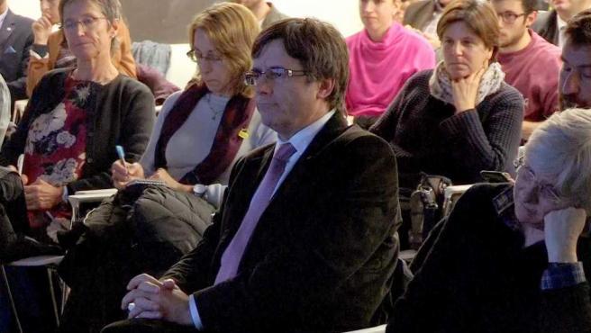 El expresidente de la Generalitat Carles Puigdemont, durante la la presentación en Bruselas de un libro sobre Cataluña en la Guerra Civil.