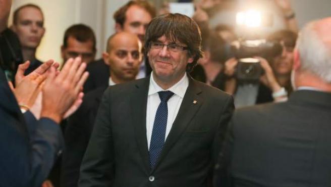 El expresidente de la Generalitat catalana Carles Puigdemont en el acto de 200 alcaldes independentistas en Bruselas.