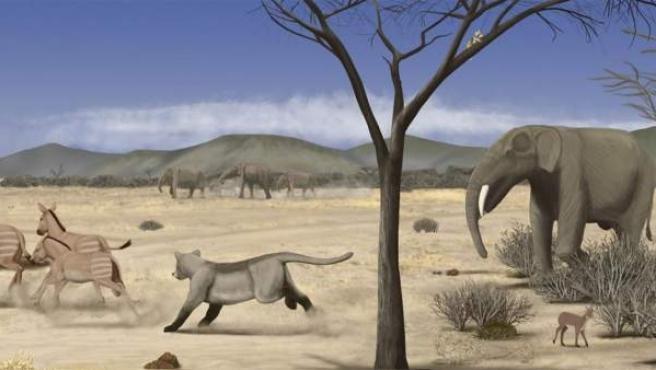 Recreación de la sabana que se extendía por Madrid en el Mioceno Medio.