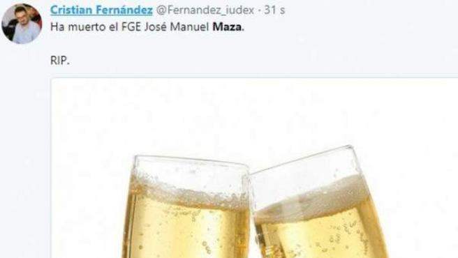 Tweet de Cristian Fernández sobre Maza tras la muerte de éste.