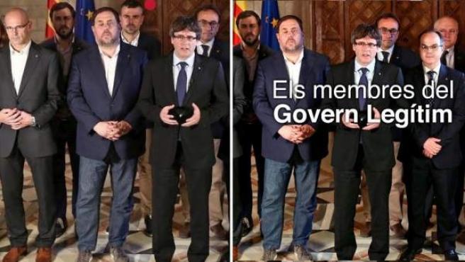 Comparación de imágenes del Govern de la Generalitat con y sin Santi Vila.