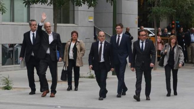 Turull y Rull, junto a otros exconsellers, llegando a la Audiencia Nacional para declarar.